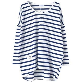 TDB ゆるシルエットボーダーTシャツ フリーサイズ 03.ブルー atop0065-f-blue01