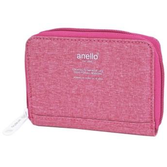 (アネロ)anello 高密度 杢調 ラウンドファスナー 2つ折り財布 AU-H1154 (PI:ピンク)
