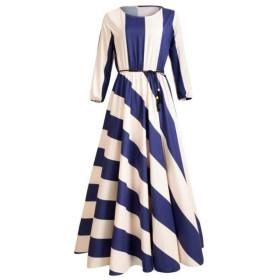 ACHICOO ドレス ワンピース スカート 女性 レディース ストライプ プリント ミドルスリーブ ロング エレガント 夏 ファッション XXXL