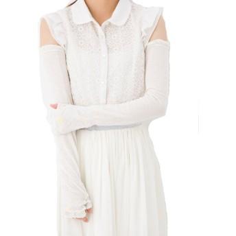 綿麻混 アームカバー 60cm丈 オフホワイト 花と蝶ワンポイントUVチェックプリント UV手袋 裏メッシュ UV対策 レディース ロング丈