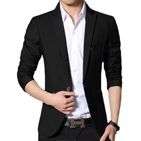 PIITE メンズ ビジネス ジャケット 無地 シンプル スリム ジャケット 通勤 テーラードジャケット フォーマル 洋服 紳士服 カジュアル ファッション 黒/ネイビー M-5XL(8黒)