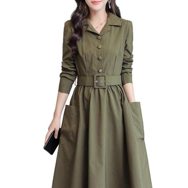 春と秋の長袖 ウインドブレーカー 中長セクション 韓国語版 新しいファッションコート女性 ドレス ポート風のジャケット 薄いドレス シャツワンピース M-3XL (L, 軍緑)