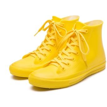 [Banlan] レインブーツ レディース ショート レインシューズ スニーカー 晴雨兼用 7色展開 雨靴 長靴 梅雨 スニーカーみたい スニーカー風 レインシューズ (35(22.5CM), 1# 黄色い)