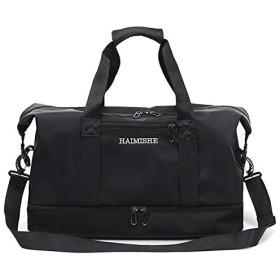 HAIMISHE 大容量 ボストンバッグ トラベルバッグ スポーツバッグ 撥水 軽量 ショルダーベルト付き シューズ収納 スーツケースの持ち手に通せる ブラック