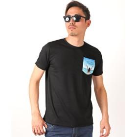 ラグスタイル サマーテイスト柄ポケット付き半袖Tシャツ/Tシャツ メンズ 半袖 ポケット サマーテイスト サーフ ビター系 BITTER メンズ ブラック系2 M 【LUXSTYLE】