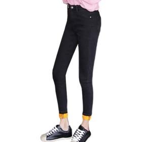 [ブルーディー] 裏起毛 防寒 デニム スキニー パンツ カジュアル 防風 スリム フィット ジーンズ レディース ブラック XL(31)