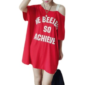 ZhongJue(ジュージェン)レディース 半袖 tシャツ ゆったり オフショルダー かわいい おしゃれ tシャツ 韓国ファッション(10レッドG02)