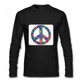 Tye染料のシンボルの内側の平和のシンボル Men Long Sleeve T-Shirt メンズ Tシャツ