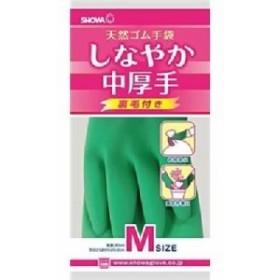 ショーワ 天然ゴム手袋 しなやか中厚手M グリーン 【10個セット】 30-979 緑