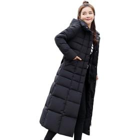 HAPPYJP レディース ロングコート 中綿コート 防風 防寒 アウター 中綿 膝下 冬 (ブラック, M)