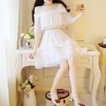 ミニ シフォン ワンピース ドレス レディース 大きいサイズ 袖あり ハイウエスト Aライン フレア レース 白