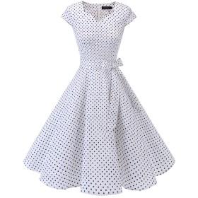 Dresstell(ドレステル) スイングワンピース カップ袖 Vネック 50年代 ウィンテージ お呼ばれ 結婚式 フォーマルドレス レディース ホワイト小柄ドット XSサイズ