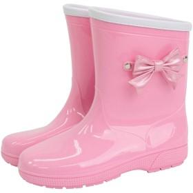 [ANGELCITY] レインブーツ リボン キッズ 女の子 ピンク 男の子 グレー A38 (16cm, ピンク)