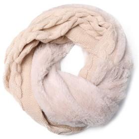 Shunvfang 洗えるファースヌード ネックウォーマー マフラー スヌード 柔らかい 軽量 無地 ストール 暖かい 可愛い 人気 秋冬 (ベージュ)