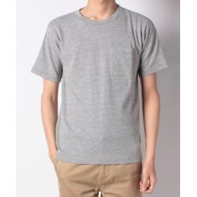 (nano・universe/ナノ・ユニバース):ジャガードサッカーストライプTシャツ/メンズ トップグレー