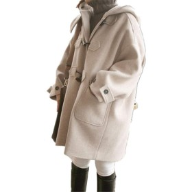 [チューカー] ラシャコート レディース Pコート ダッフルコート 中綿入り 厚手 オーバーコート 無地 前開き アウター フード付き ゆったり 体型カバー 森ガール 学院風 写真通りM