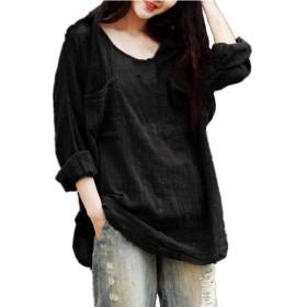 スタイルドーム(StyleDome) Tシャツ 長袖 プルオーバー カットソー レディース 綿麻 森ガール ブラック L