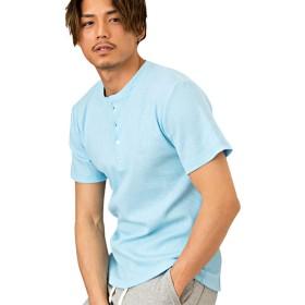 (キャバリア)CavariA メンズ 半袖 Tシャツ クルーネック ブイネック ヘンリーネック ストレッチ 3タイプ C(ヘンリーネック)-46(L) SAX(サックス)【+】