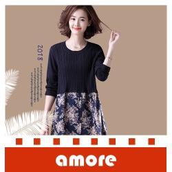 Amore 秋季新品印花長款假兩件連衣裙