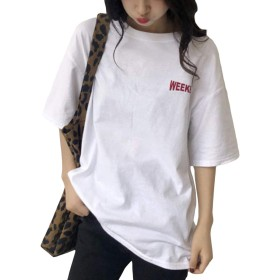[BSCOOL]Tシャツ半袖レディースtシャツクルーネックプリントトップスゆったりファッションティーシャツビックドロップショルダー白Tシャツカジュアル韓国夏(B白)