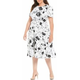 カルバンクライン レディース ワンピース トップス Plus Size Floral Print Short Sleeve Fit and Flare Midi Dress Cream Black