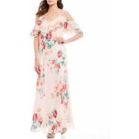カルバンクライン レディース ワンピース トップス Chiffon Floral Print Ruffle Cold Shoulder Maxi Dress Watermelon Multi