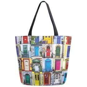 トートバッグ 色々な門 カラフルな図案 キャンバスバッグ レディース 大容量 2way 帆布 サブバッグ 多機能バッグ