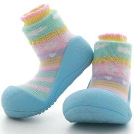 韓國【Attipas】快樂腳襪型學步鞋-嗡嗡繽紛系列(天空藍) L【紫貝殼】