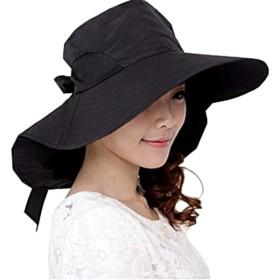 バルカロール UVカット つば広 帽子 小顔 アームカバー 紫外線(Black)