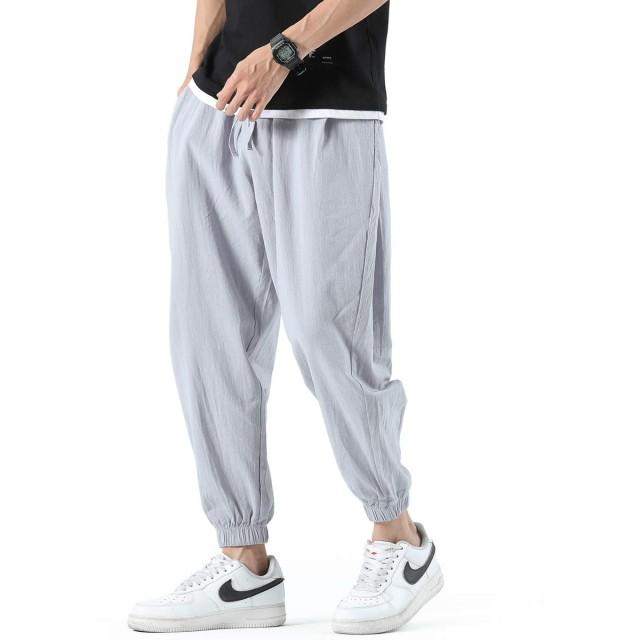AFSDEERサルエルパンツ ガウチョパンツ メンズ ワイドパンツ 薄手 大きいサイズ リネンパンツ メンズ ロングパンツ 無地 ゆったりパンツ 夏服(029#ライトグレー, XL)