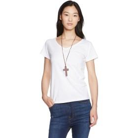 夏美人 ベーシックTシャツ   Vネック   無地  / 半袖  / 黒 / 白 / M Lサイズ /胸元に十字ネックレス プレゼント ネットのOKAMURA (M, 白)