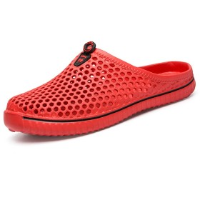 ラバーズフリップフロップ2018 New Sandals Hollow-Outノンスリップ通気性ビーチシューズユニセックスアウトドアラフティングフリップフロップホールシューズレッド、ブラック ( Color : 赤 , サイズ : 36 )