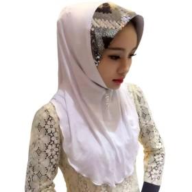 Hzjundasi イスラム教徒 女性 ヘッドカバー Sequins Splicing Hat Design ヒジャブ イスラム スカーフ ショール