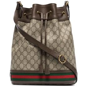 Gucci GGスプリーム ドローストリング バッグ - ブラウン