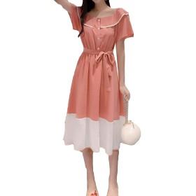 AOZUOレディース ワンピース 夏 ゆったり ワンピース Aライン 着痩せ 半袖 カジュアル ギャザーワンピース ベルト付き 折り襟 可愛い デート パーディー レッドU