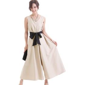 プールヴー オールインワン パンツドレス 結婚式 二次会 レディース Mサイズ 9号 ベージュ ドレス