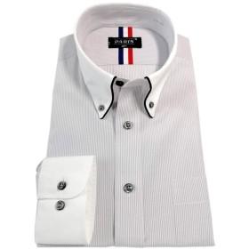 [パリス16ク] ワイシャツ メンズ 長袖 形態安定 ボタンダウン ドゥエボットーニ カッタウェイ クレリックグレーストライプ L 6