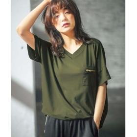 ジーラバイリュリュ GeeRA by RyuRyu ジップポケットサイドタックゆるTシャツ (カーキ)