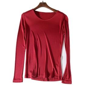 シルク クルーネック Tシャツ レディース 長袖 6色 シルク100% silk100% シンプル 一枚着用 重ね着 シンプル オシャレ 肌に優しい 敏感肌 低刺激 快適 保湿 (M, ワインレッド)
