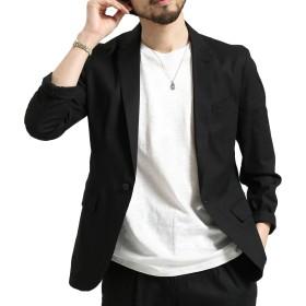 ジャケット メンズ 大きいサイズ 夏 テーラードジャケットビジネス おしゃれ (2XL, ブラック)