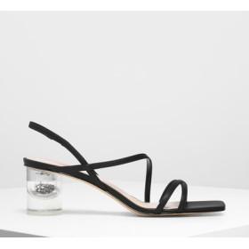 【2019 FALL 新作】アシメトリカルストラップ ルーサイトヒールサンダル / Asymmetrical Strap Lucite Heel Sandals (Bl