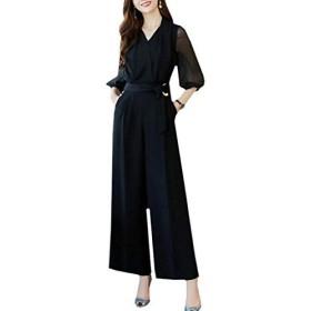 (SUNNY SMILE)レディース スーツ パンツドレス 結婚式 オールインワン 大きいサイズ パーティードレス パンツ オーバーオール 上品 黒 通勤 (LL)