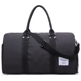 ボストン バッグ 大容量 旅行 1~2泊 トラベル 2way ナイロン 撥水加工 男女兼用 黒 ナイロン K13197 (ブラック)