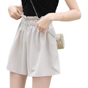 [Bestmood]ショートパンツ レディース シフォン ゆったり 短パン シンプル ハイウェスト ファッション ショーパン ウェストゴム ヨガーウェア キュロット 韓国風 かわいい 夏(Vグレー)