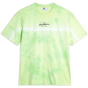 《期間限定セール開催中!》TOPMAN メンズ T シャツ ライトグリーン S コットン 100% GREEN TIE DYE 'LA' T-SHIRT