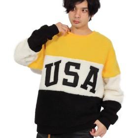 (エイト) 8(eight)USA ロゴ ボア ニットセーター イエローL