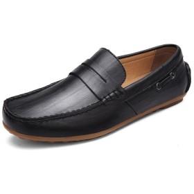 [QIFENGDIANZI]メンズ靴 ドライビングシューズ カジュアルシューズ ローファー スリッポン モカシン デッキシューズ ビジネスシューズ 身長アップ 蒸れない ラクな履き心地 衝撃吸収と反発性に優れた おしゃれ 通勤 通学  黒 24.5cm