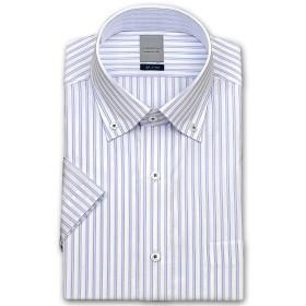 (ロードソン)LORDSON メンズワイシャツ 半袖 ボタンダウン 形態安定加工 ポリエステルボタン 脇2本針縫製 袖付け本縫い [460-41]