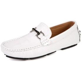 [チャンピオン靴店] メンズシューズ本革快適なメンズカジュアルシューズ履物フラットシューズメンズスリップオンレイジーシューズ 24cm 白