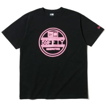 【ニューエラ公式】 コットン Tシャツ ネオン バイザーステッカー ブラック × ネオンピンク メンズ レディース Large 半袖 Tシャツ 12108183 NEW ERA